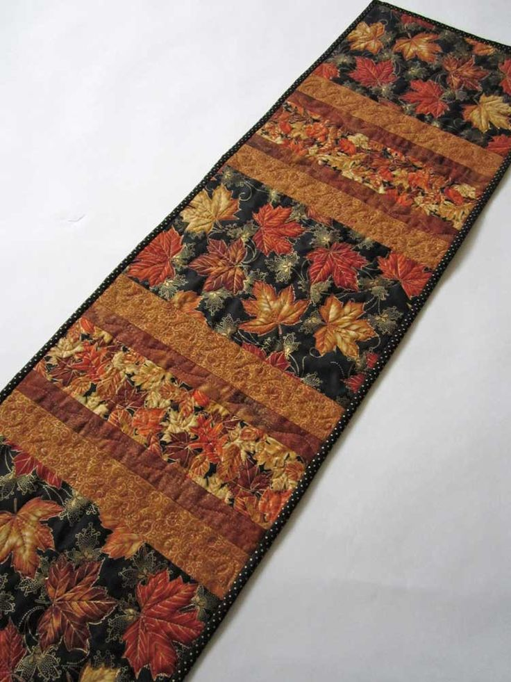 Maple Leaf Quilt Pattern Table Runner : Quilted Table Runner Maple Leaves Stripe Fall Colors by Patchworkmountain.com Handmade ...