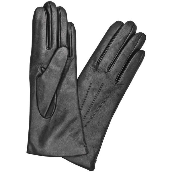 Womens Gloves Dents Black Cashmere-lined Leather Gloves ($96) ❤ liked on Polyvore featuring accessories, gloves, real leather gloves, leather gloves and dents gloves