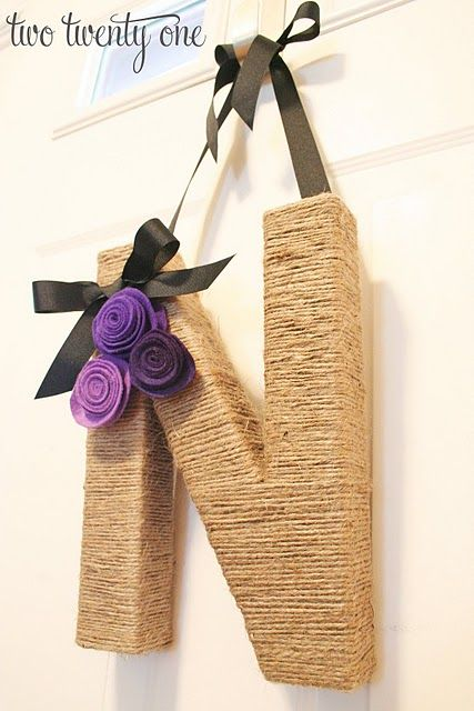 Jute wrapped monogram - did a H for mine- really simple to do- and very cheap! Love it! (I added butterflies to mine instead of flowers) - I will add a picture!