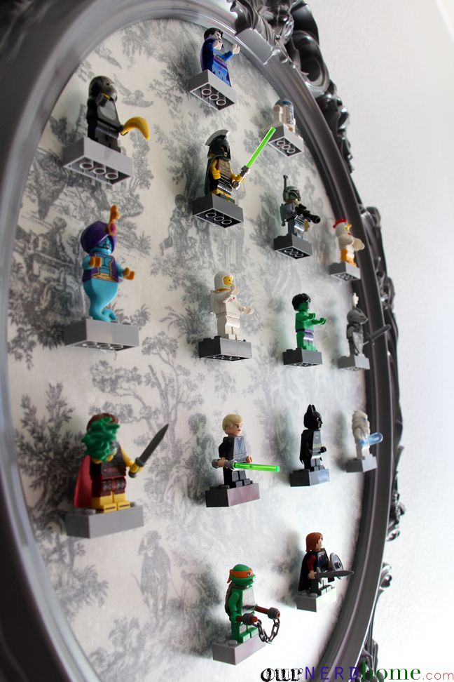 A baroque style LEGO Minifigure display frame. IKEA hack using an Ung Drill frame.