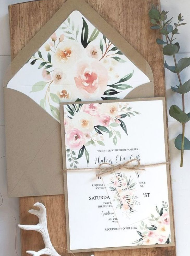 Rustic Wedding Invitation With Blush Watercolor Florals Love Of Creating Design Co In 2020 Wedding Invitations Rustic Rustic Wedding Wedding Invitations