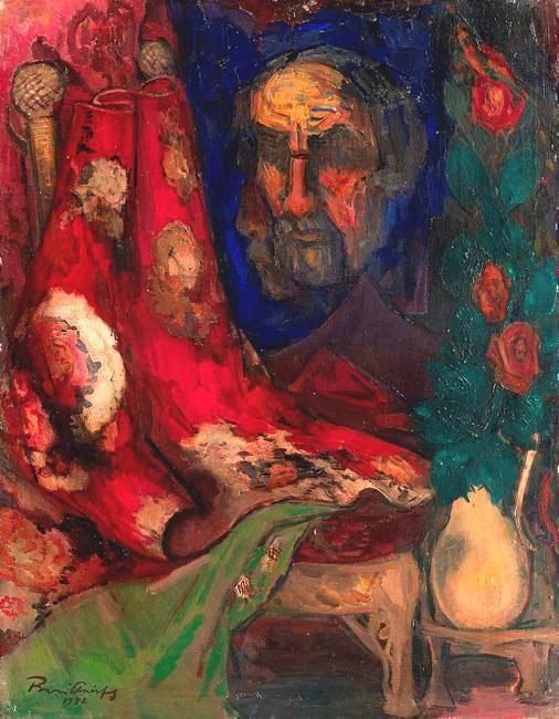 Борис Анисфельд. Отраженный автопортрет в зеркале. 1946 г.