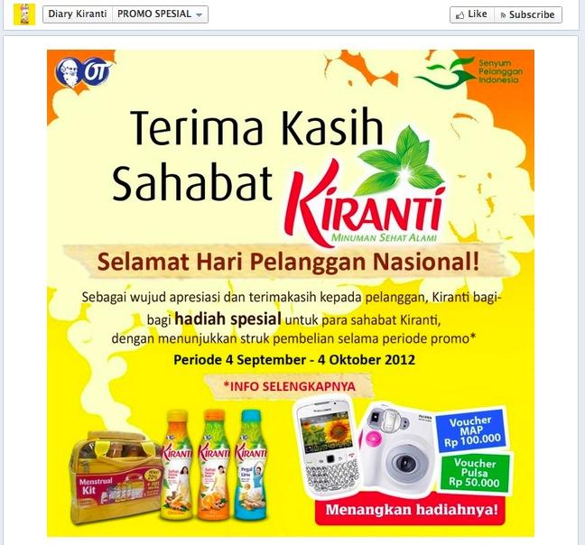 Dalam rangka Hari Pelanggan Nasional,  Kiranti membikin activity bagi-bagi hadiah dengan syarat struk pembelian.  Screenshot diambil di Facebook Page Diary Kiranti pada bulan September 2012