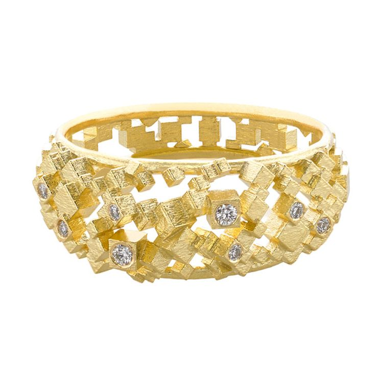 Diamond Gold Two Edge Chaos Ring | From a unique collection of vintage band rings at http://www.1stdibs.com/jewelry/rings/band-rings/