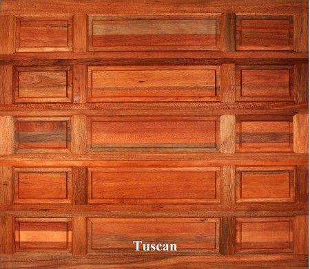 A wooden garage door in Tuscan style.