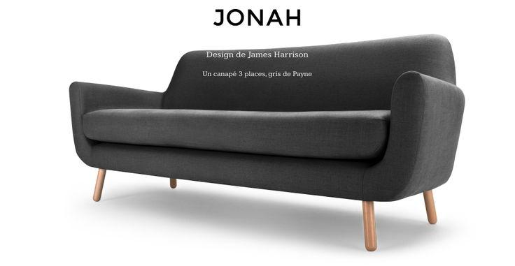 Jonah, Design de James Harrison, un canapé 3 places en gris de Payne | made.com