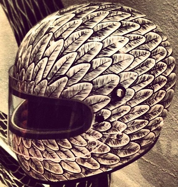 Feather helmet. One of the most awesome custom helmets! Artist unknown....