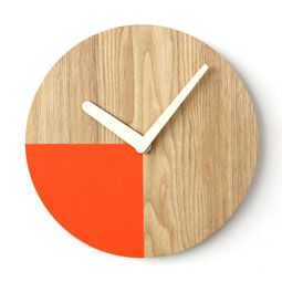Ash Wood Minimalist Art Quarter Circle Wall Mount Non-Ticking Silent Clock