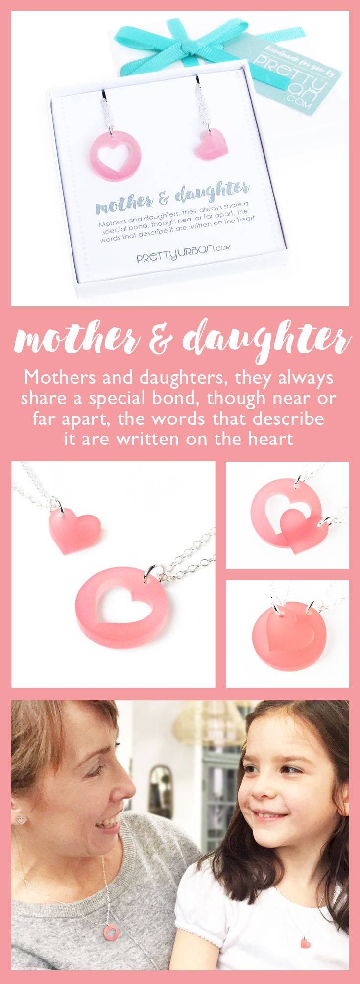 Mother & Daughter Necklace Set in gift box - perfect for mothers day