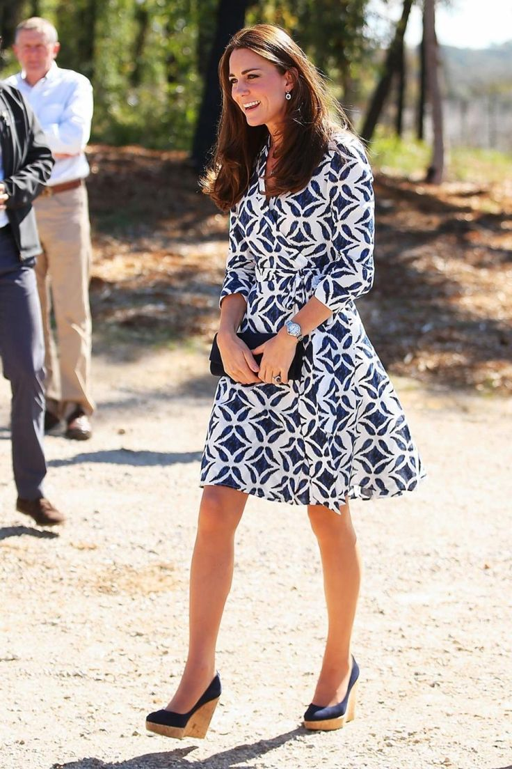 Kate Middleton set off a frenzy wearing this blue and white long sleeved dress.