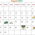 August 2015 Calendar With Holidays