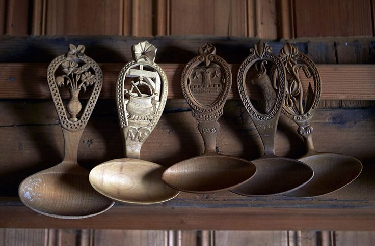 Traditional carved wooden spoons hang from hooks in the Tsermon mountain pasture chalet in Gruyeres, on July 31, 2013. (Reuters/Denis Balibouse) #