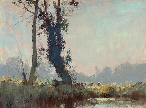 Trees and cattle near Barton Mills, Edward Seago. English Post Impressionist Painter (1910 - 1974)