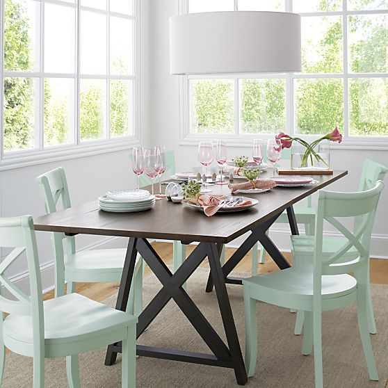 Vintner mint side chair in dining chairs crate and for Crate and barrel dining room ideas