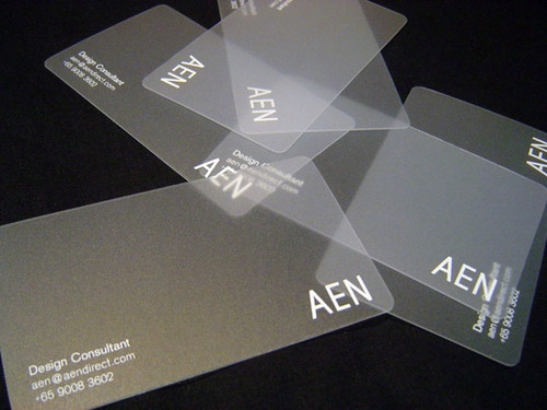 Transparent business card--could be an interesting material to play with as a gift card/voucher