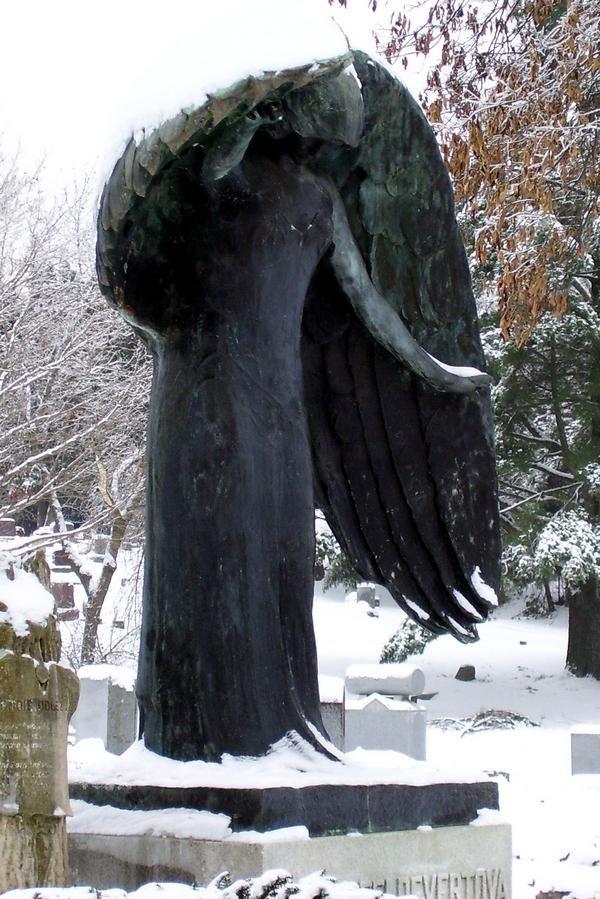 The Black Angel of Oakland Cemetery, Iowa City, IA  - Imgur #stone #angels #sculpture