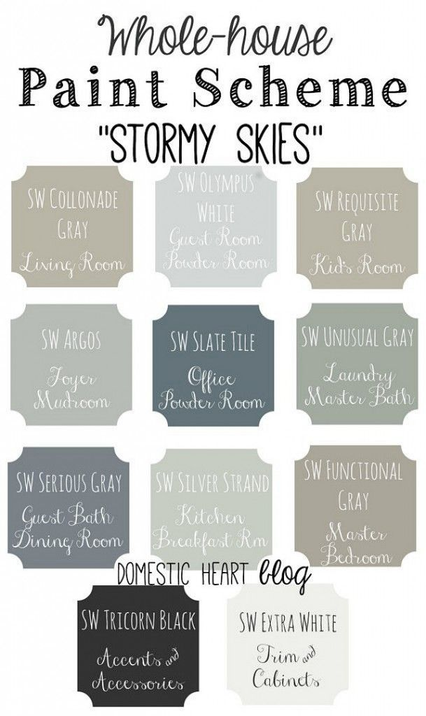 Gray Paint Colors for every room of the house. From charcoal grays to pale gray…