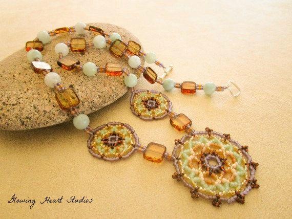 Beadwork Necklace mint green lavender amber by GlowingHeartStudios