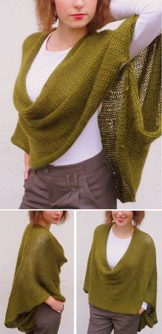 Knitting Pattern for Soft Wrap Poncho - One long rectangle, sewn in back and at the arms for a wrap. Rated very easy by Ravelrers. Designed byAlice Tang. Pictured project by luna