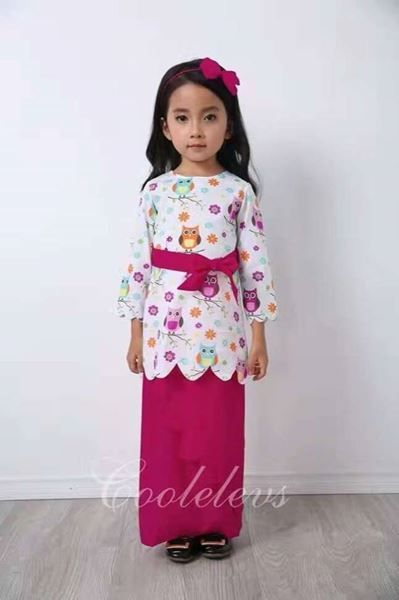BAJU KURUNG CUTE OWL FUSHIA | ETA End March