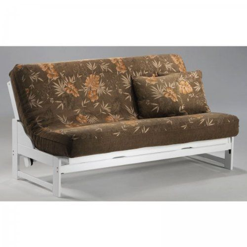 "Eureka Queen Futon Frame (White) (36.875""H x 81.375""W x 38.625""D) by Night and Day Furniture. $490.00. Size: 36.875""H x 81.375""W x 38.625""D. This item ships common carrier.. Sturdy Construction. Color: White. Armless for More Space. The White finished Eureka Queen Futon Frame is an elegant addition to any home.  Made of plantation grown rubberwood, this queen size futon is a standard size, perfect for overnight guests or for use in a small studio apartment in place of a bed.  T..."