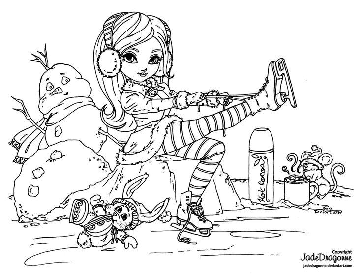 Ice Skating - Lineart by JadeDragonne.deviantart.com on @DeviantArt