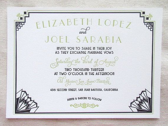 Letterpress Wedding Invitation Suite - Art Deco Inspired
