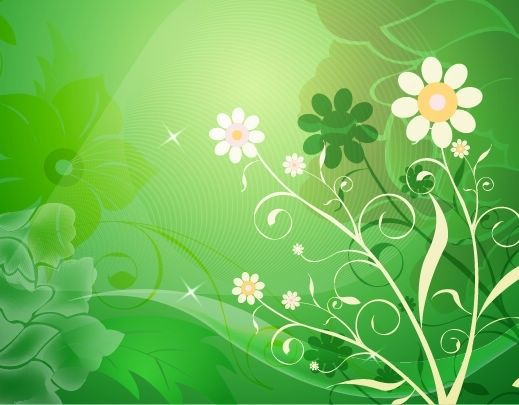 FLOWERS / Free vector Vector flower Vector Abstract Flower with Green Background