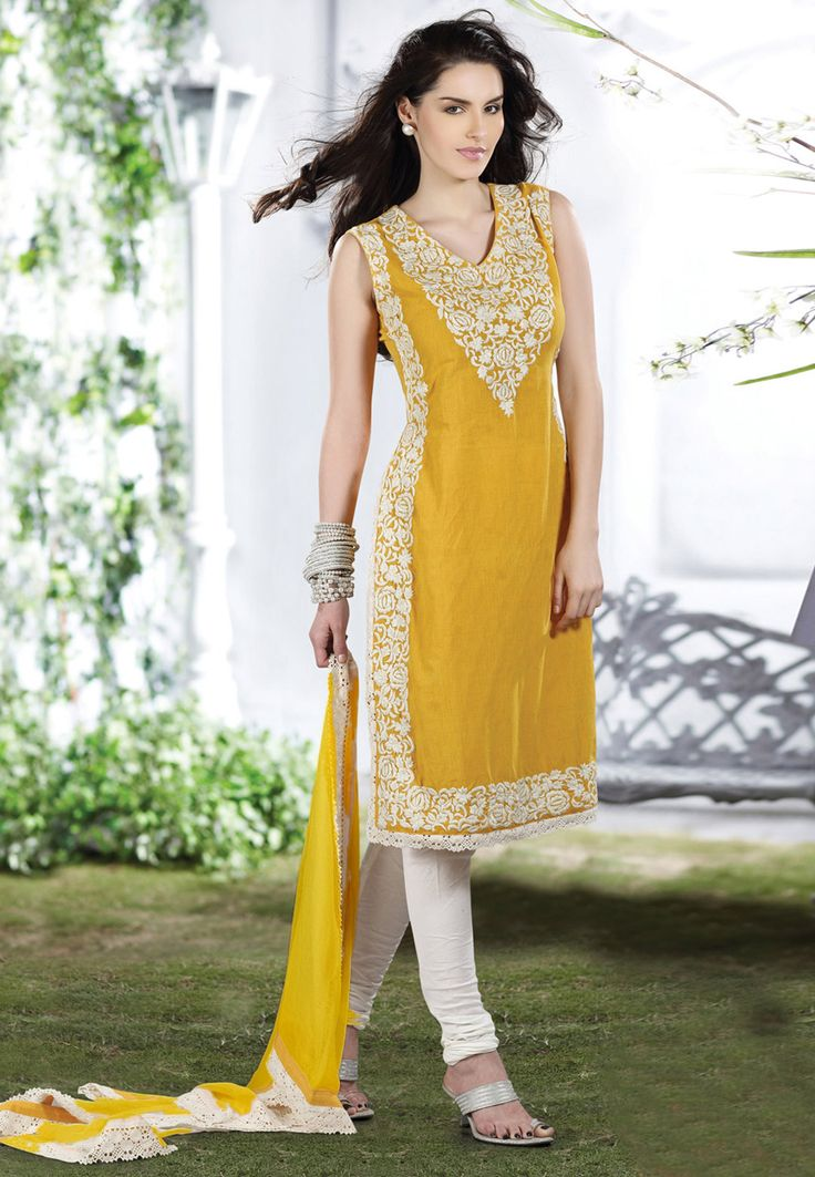 yellow embroidered churidar