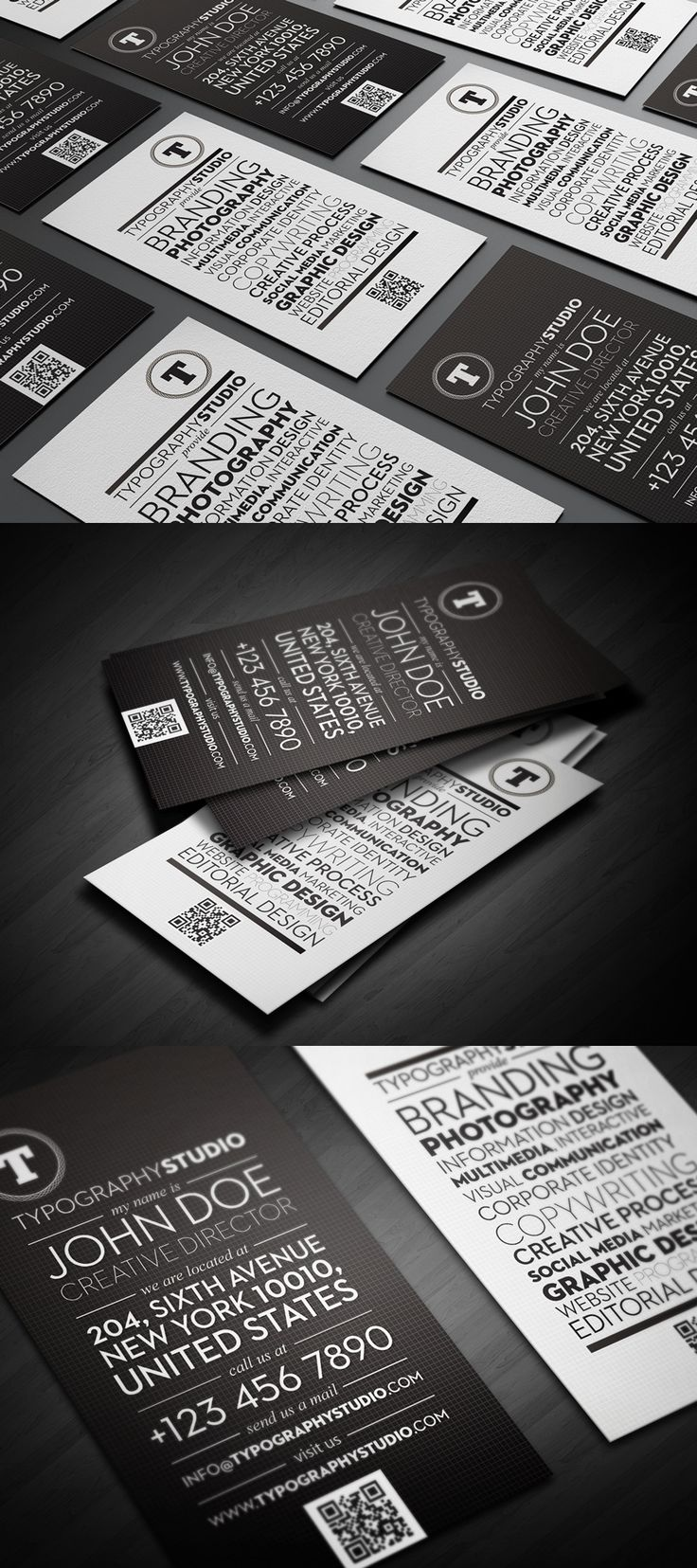 Typography Studio – Business cards, subtle grid application is tight, along with the typography.
