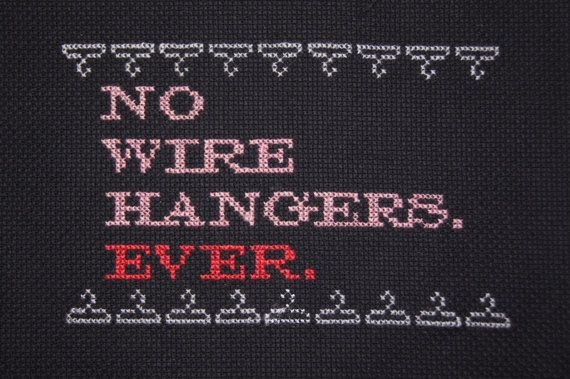 No Wire Hangers sampler by CarsonZickersham on Etsy, $40.00