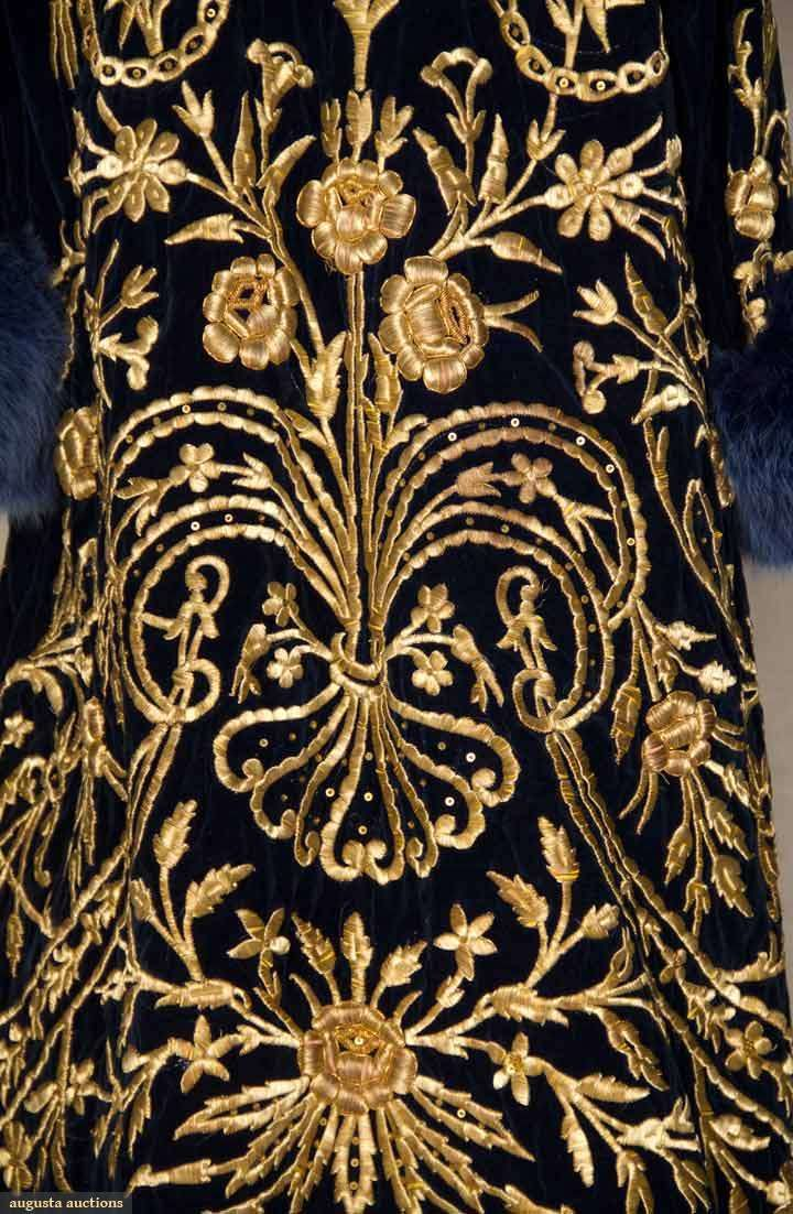 Sapphire blue velvet w/ heavy gold 3-dimensional floral & vine embroidered front & back, V-neck, blue dyed fox fur collar & hem trim