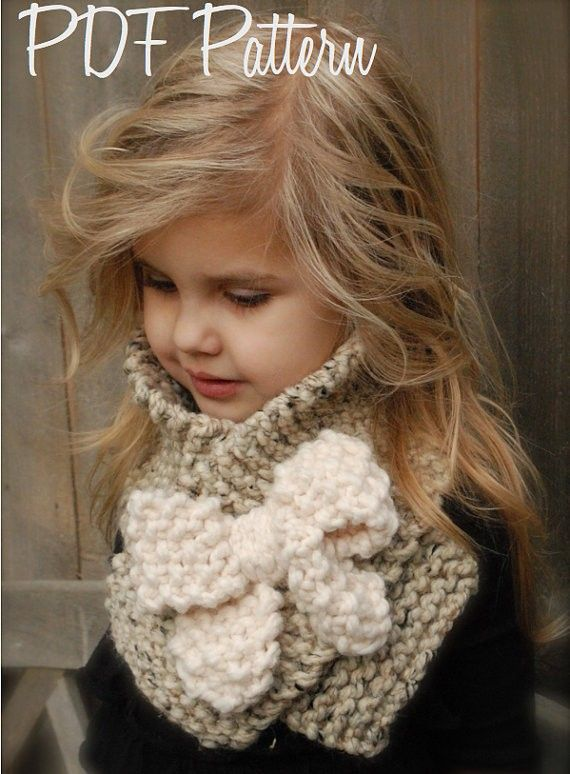 Knitting PATTERN-The Bowlynn Scarf  (Toddler, Child, Adult sizes) - Crochet &amp, Knitting Instant Download Patterns for Baby and Audlt