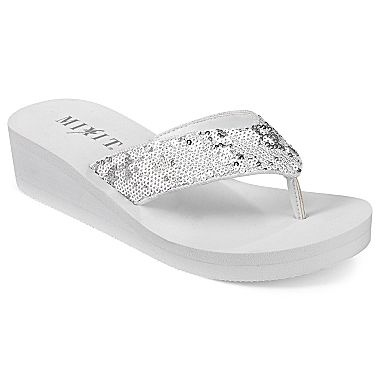 Mixit® Sequin Wedge Flip Flops - jcpenney  I had to get these because FitFlops were unavailable like everywhere. Oh well don't look at my feet!