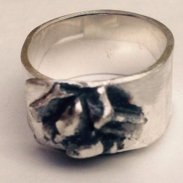 1970s inspired silver band with oxidized detail