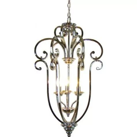 Gorgeous contemporary large nickel hanging light with scroll effect.
