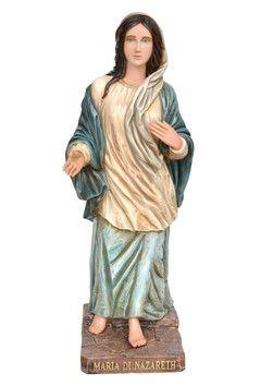 Maria di Nazareth  altezza cm. 120 in vetroresina dipinta con colori acrilici e finiture ad olio disponibile anche con occhi di vetro  http://www.ovunqueproteggimi.com/collezione-statue/madonne/maria-di-nazareth/