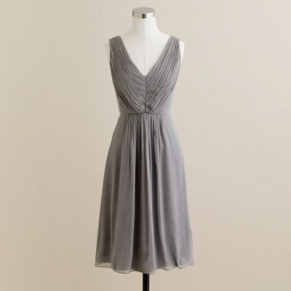 Louisa dress - graphite $250: Gray Bridesmaid Dresses, J Crew, Gold Bridesmaid Dresses, Grey Bridesmaid Dresses, Jcrew, Louisa Dresses, Grey Bridesmaids, Chiffon Dresses, Grey Dresses