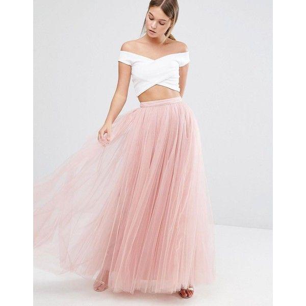 Little Mistress Tulle Maxi Skirt ($38) ❤ liked on Polyvore featuring skirts, pink, high-waist skirt, tall maxi skirt, tulle skirt, long skirts and high waisted long skirt