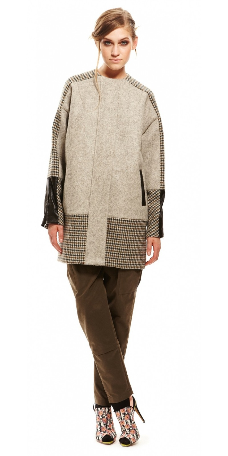 SUNO NY Cocoon Jacket.    Raglan sleeve cocoon jacket with leathe trimmed pockets, leather-trimmed zipper sleeves. Wool