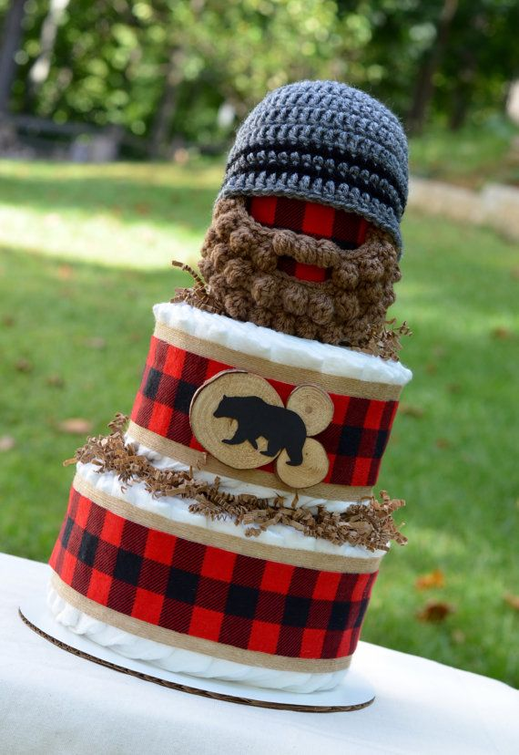 Lumberjack Baby Shower Centerpiece - Buffalo Plaid and Burlap Decoration - Lumberjack Diaper Cake - Boy Diaper Cake - Bearded Baby Hat