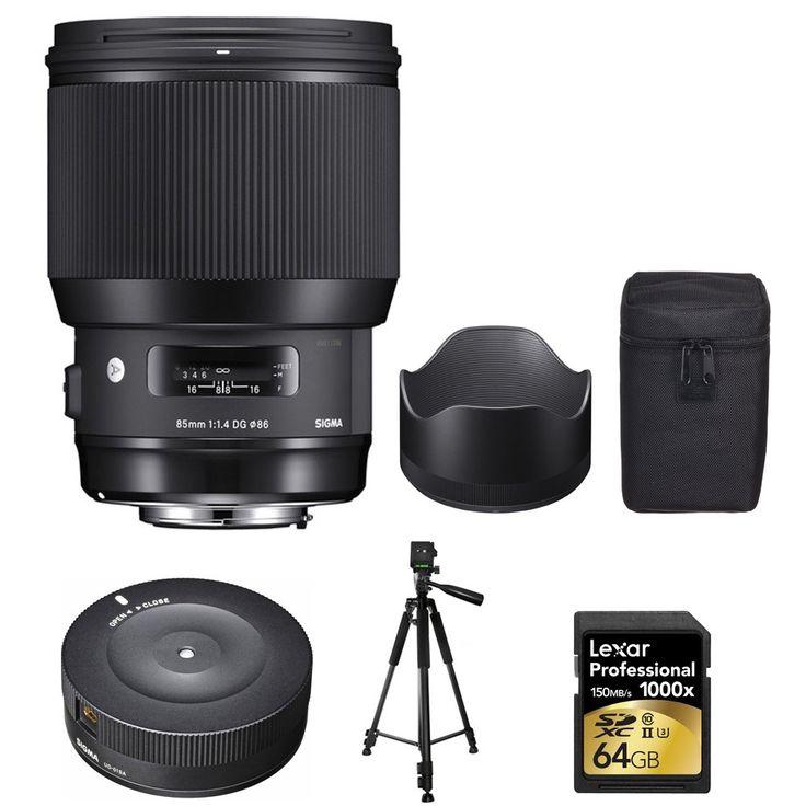 "Sigma 85mm F1.4 DG HSM Art Nikon (321955) with Sigma USB Dock for Nikon Lens, Xit 60"" Full Size Photo / Video Tripod & Lexar 64GB Professional 1000x SDHC/SDXC Class 10 Memory Card Up to 150 MB/s"