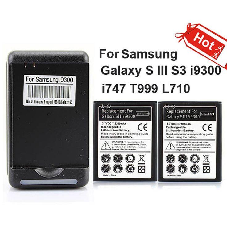2 × 2300 mah商業バッテリー +壁の充電器サムスンギャラクシー s iii s3 i9300 i747 t999 l710
