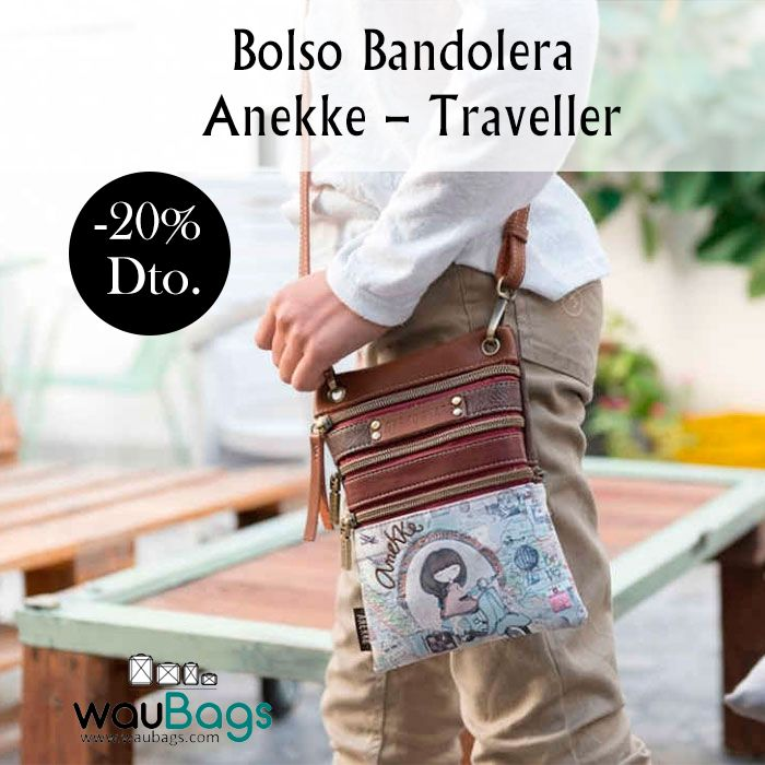 """Bolso Bandolera Anekke """"Traveller"""", con 3 bolsillos delanteros y uno trasero, todos con cierre de cremallera, correa regulable y desmontable para llevar el bolso en bandolera y tira para colgar en el cinturón.  #anekke #bolso #bandolera #complementos #oferta #descuento #waubags"""