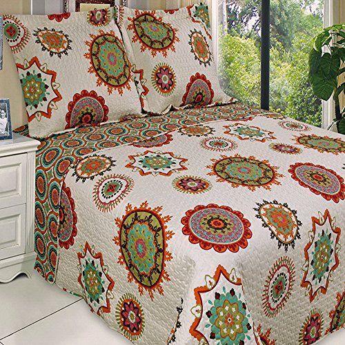 Boho Chic Red Orange Lightweight Quilt Coverlet Set