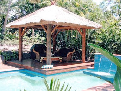 Bali hut furniture like this for ours pool landscaping for Pool hut designs