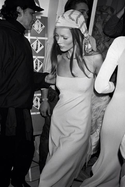 Kate Moss at The Perry Ellis show by Marc Jacobs in November, 1993