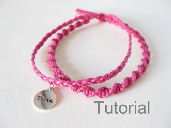 Knotted bracelet macrame tutorial pattern pdf two in one jewelry instructions silver charm braid christmas gift holiday craft diy