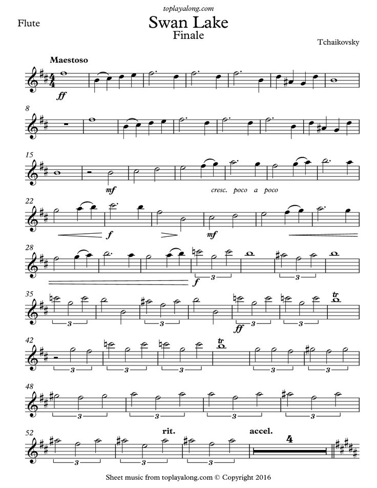 Free flute sheet music for Swan Lake Finale by Tchaikovsky with backing tracks to play along.