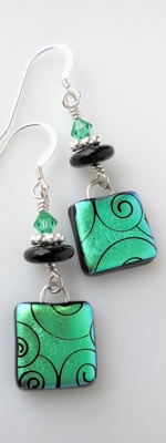 Glass Earrings by Vitrum Studio.com. Use Friendly Plastic: drag a tool through the soft f.p.; add beads.